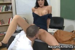 Teacher gave to lick pussy young cleaner