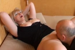 Russian mature blonde gets cunnilingus